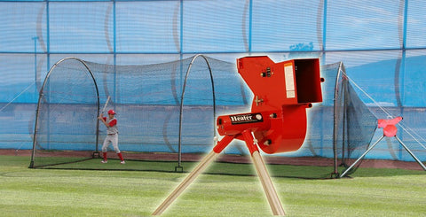 Heater Sports Combo Machine & Xtender 24 Ft. Cage - Wheel House Pitching Machines