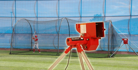 Heater Sports Softball Machine & Xtender 24 Ft. Cage - Wheel House Pitching Machines