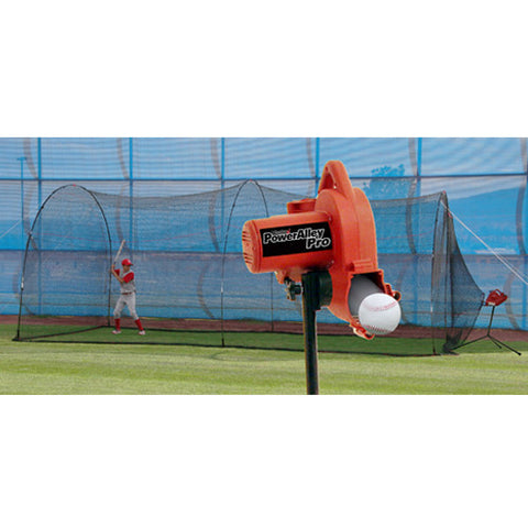 Heater Sports PowerAlley Pro Real Ball Machine & PowerAlley 22' Cage - Wheel House Pitching Machines