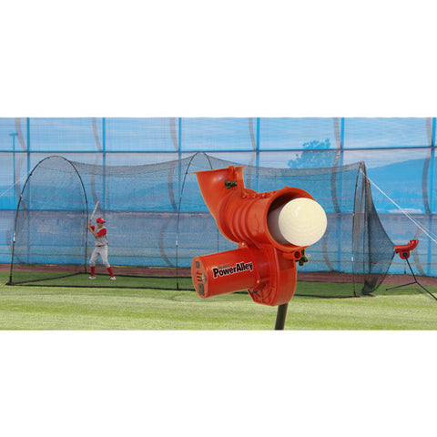 Heater Sports Power Alley 11 in Softball Machine & PowerAlley 22 Ft. Cage - Wheel House Pitching Machines