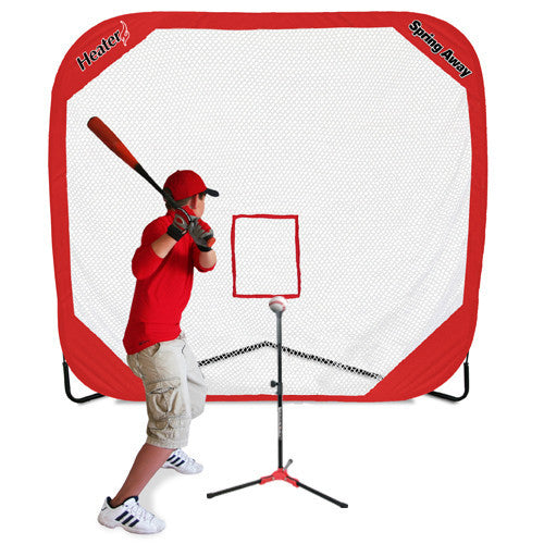 Heater Sports Flop Top Travel Tee & Spring Away Sports Net - Wheel House Pitching Machines