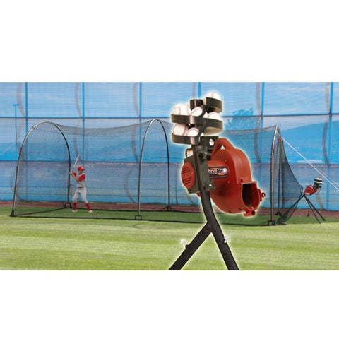 Heater Sports Basehit Machine & Xtender 24 Ft. Cage - Wheel House Pitching Machines