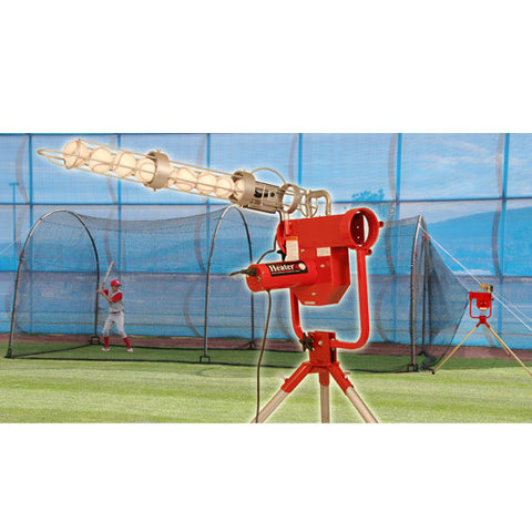 Heater Sports Pro W/ Feeder & Xtender 24 Ft. Cage - Wheel House Pitching Machines