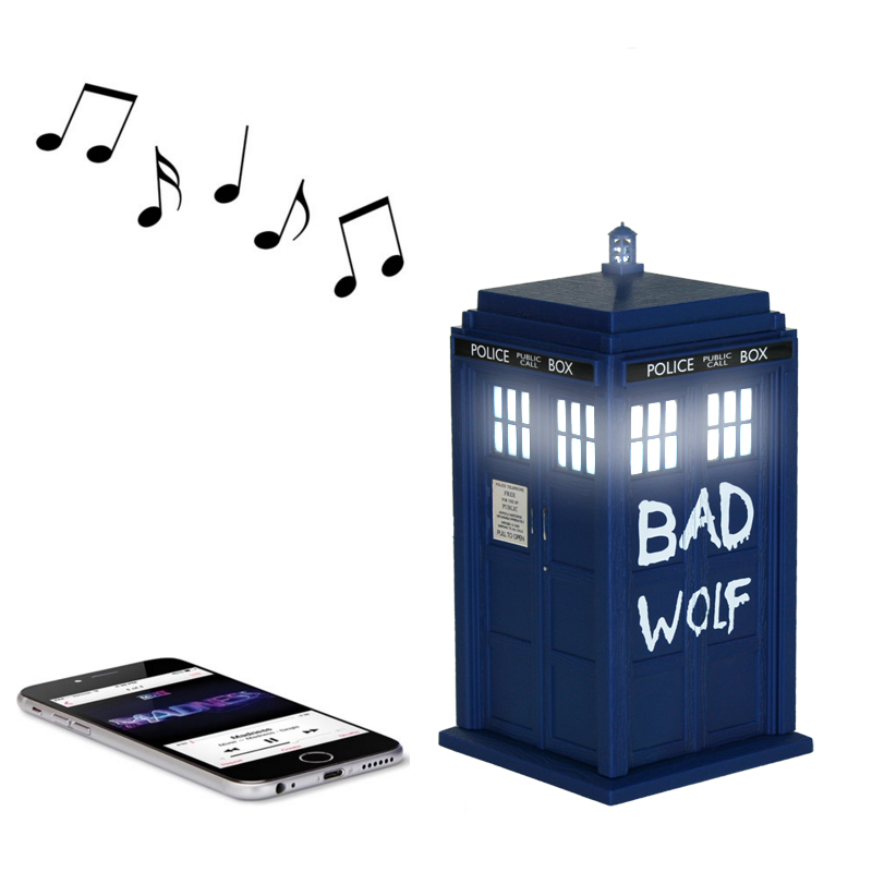 doctor who bad wolf tardis portable bluetooth speaker. Black Bedroom Furniture Sets. Home Design Ideas