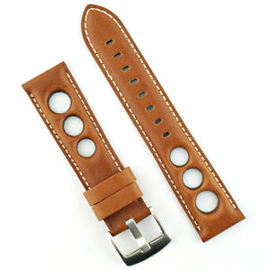 Horween Leather Rally Strap - Honey Brown Leather Straps - McDowell Time Auto-Quartz Kinetic Movement YT57