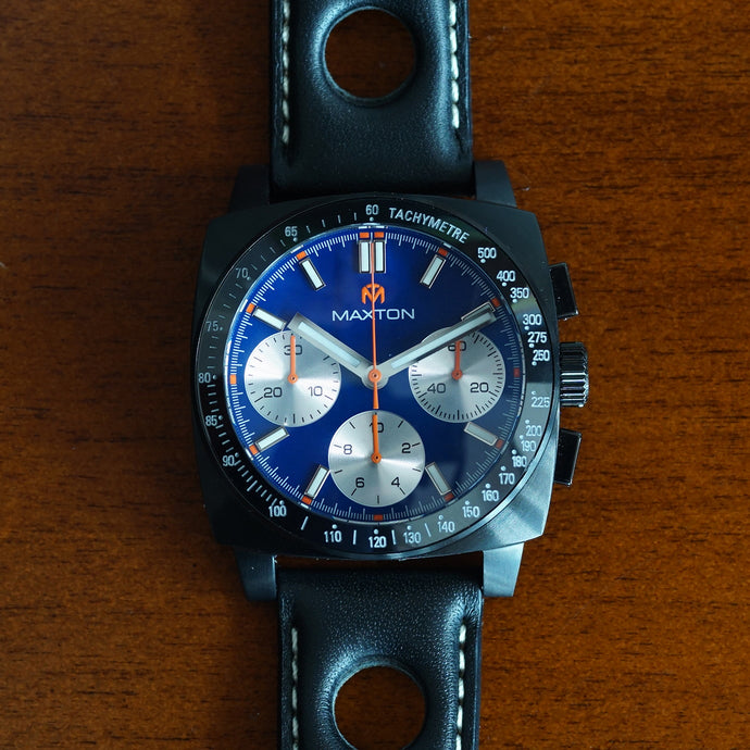 Maxton Men's Watch - Blue Dial - PVD Black Case Watch - McDowell Time Auto-Quartz Kinetic Movement YT57