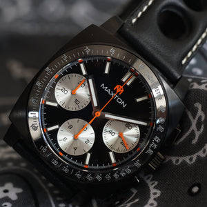 Maxton Men's Watch - Black Dial - PVD Black Case Watch - McDowell Time Auto-Quartz Kinetic Movement YT57
