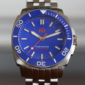 Tidewater Men's Watch - Blue Dial - Brushed Stainless Watch - McDowell Time Auto-Quartz Kinetic Movement YT57