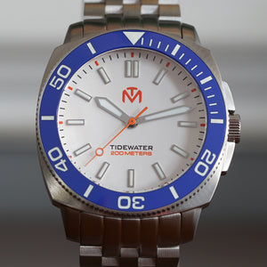 Tidewater Men's Watch - White Dial - Brushed Stainless
