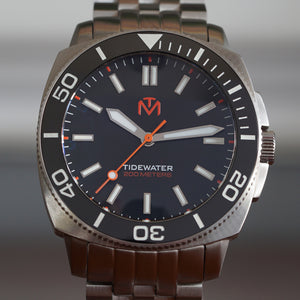 Tidewater Men's Watch - Black Dial - Brushed Stainless Watch - McDowell Time Auto-Quartz Kinetic Movement YT57