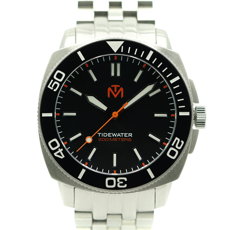 Tidewater Men's Watch - Black Dial - Brushed Stainless