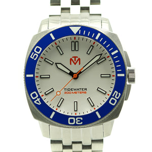 Tidewater Men's Watch - White Dial - Brushed Stainless Watch - McDowell Time Auto-Quartz Kinetic Movement YT57