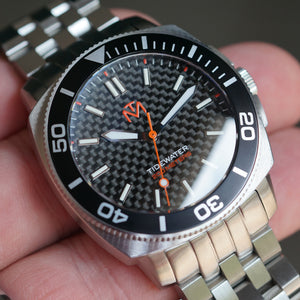 Tidewater Men's Watch - Carbon Fiber Dial - Brushed Stainless