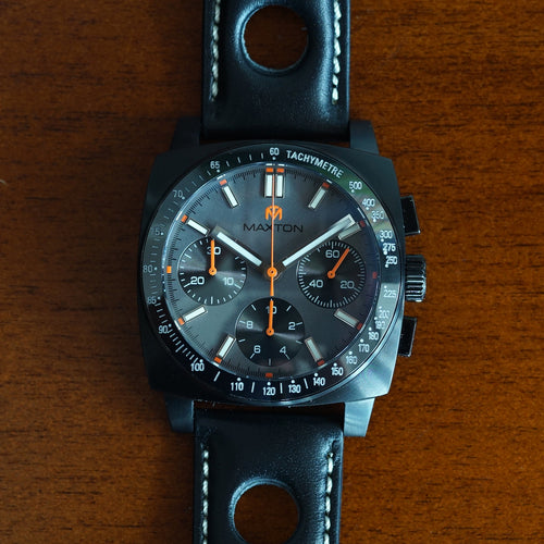 Maxton Men's Watch - Grey Dial - PVD Black Case Watch - McDowell Time Auto-Quartz Kinetic Movement YT57