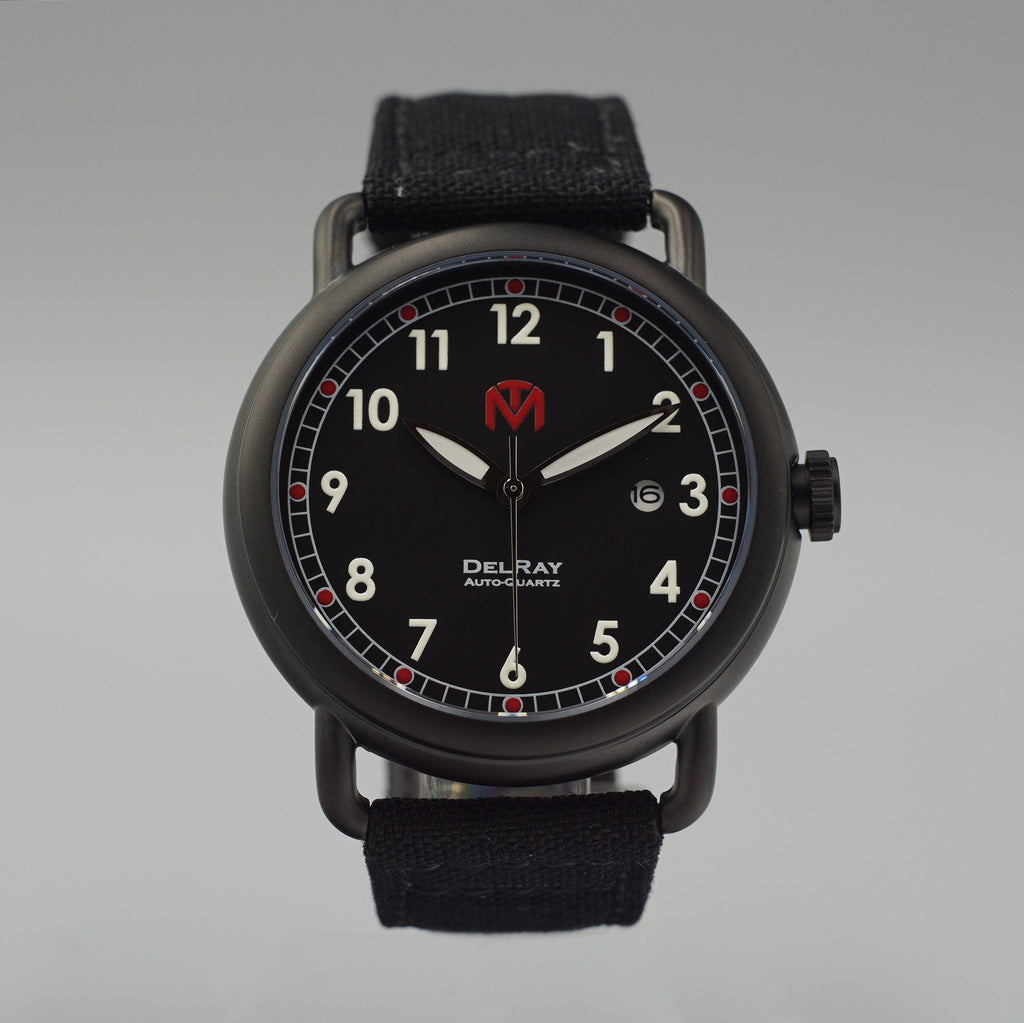 Watch - DelRay - Black Dial - PVD Black Case - Black Canvas - McDowell Time Auto-Quartz Kinetic