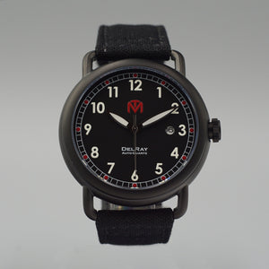 DelRay Men's Watch - Black Dial - PVD Black Case Watch - McDowell Time Auto-Quartz Kinetic Movement YT57