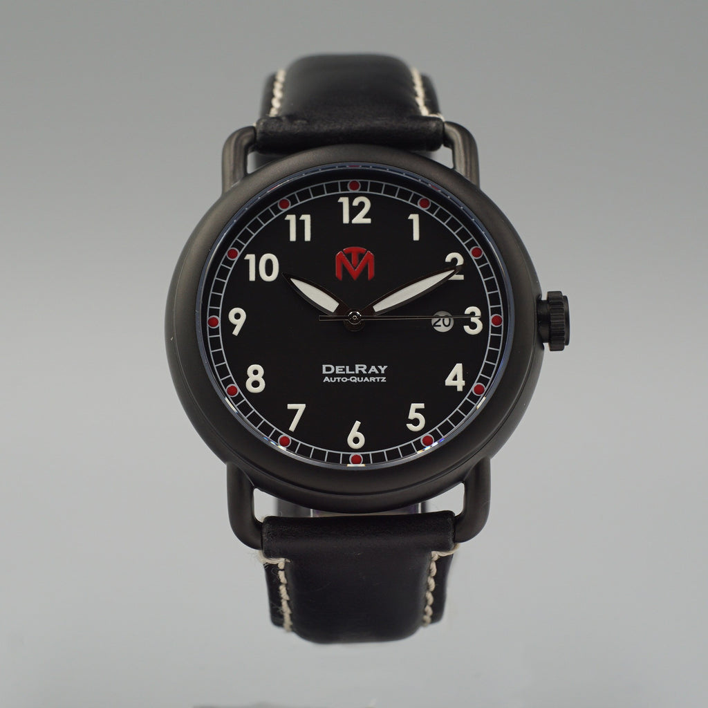 Watch - DelRay - Black Dial - PVD Black Case - Black Leather - McDowell Time Auto-Quartz Kinetic