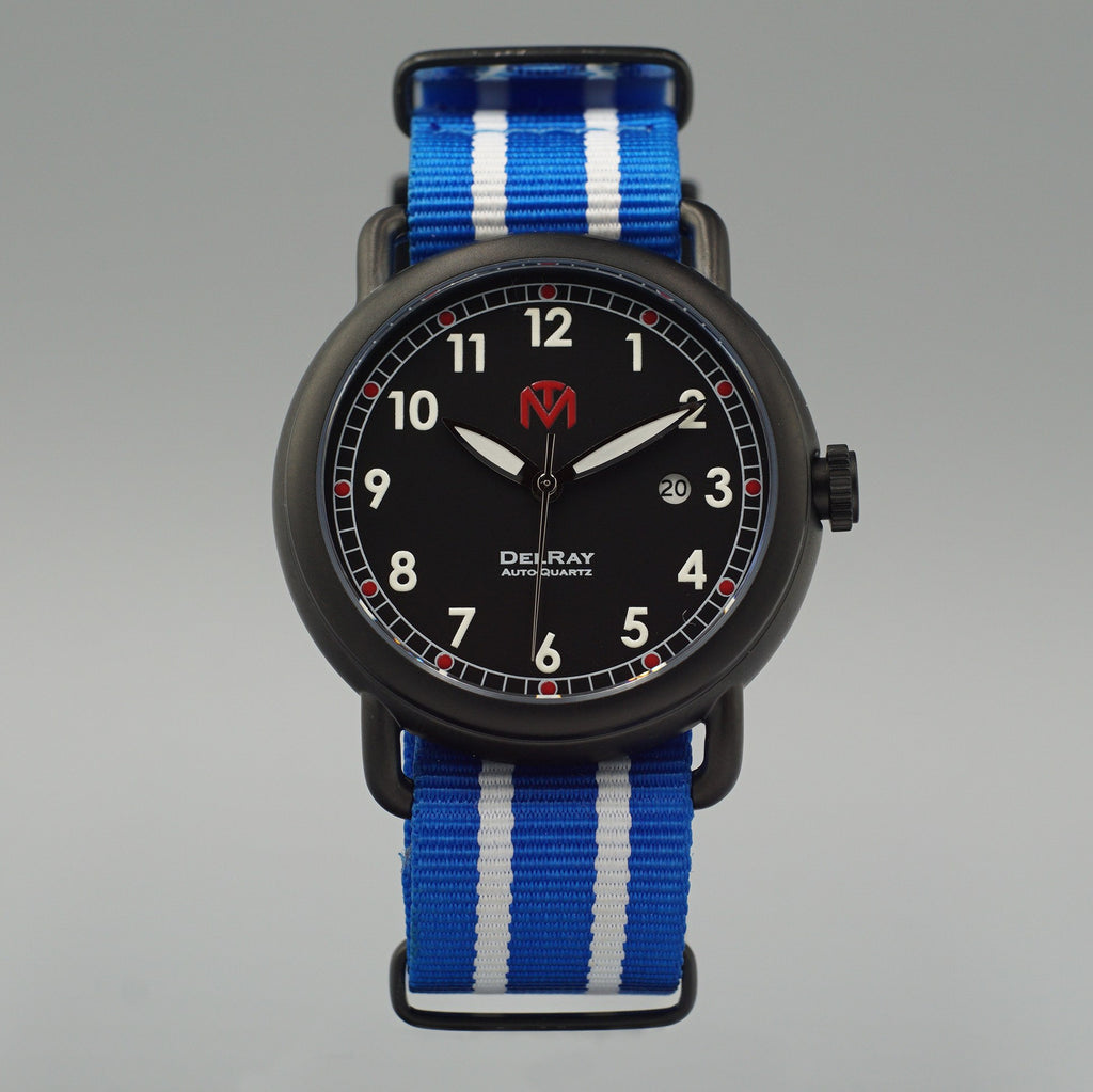 Watch - DelRay - Black Dial - PVD Black Case - Blue NATO - McDowell Time Auto-Quartz Kinetic