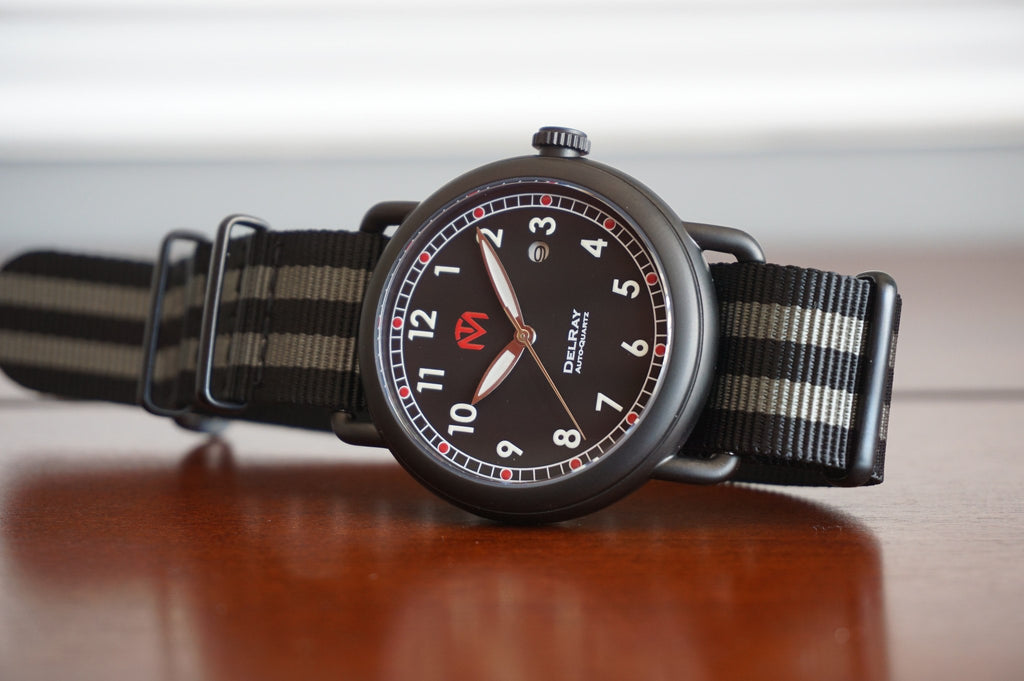 Watch - DelRay - Black Dial - PVD Black Case - Bond NATO - McDowell Time Auto-Quartz Kinetic