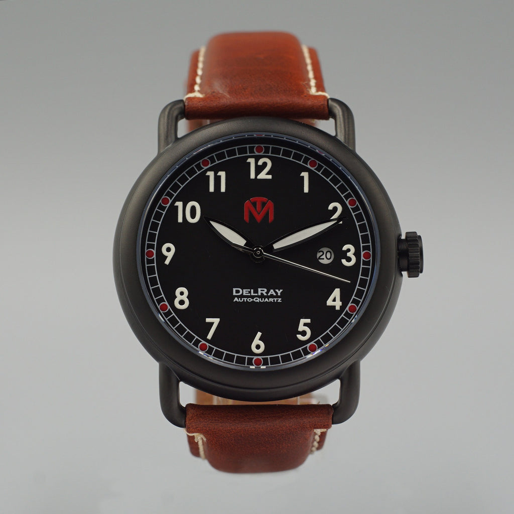 Watch - DelRay - Black Dial - PVD Black Case - Brown Leather - McDowell Time Auto-Quartz Kinetic