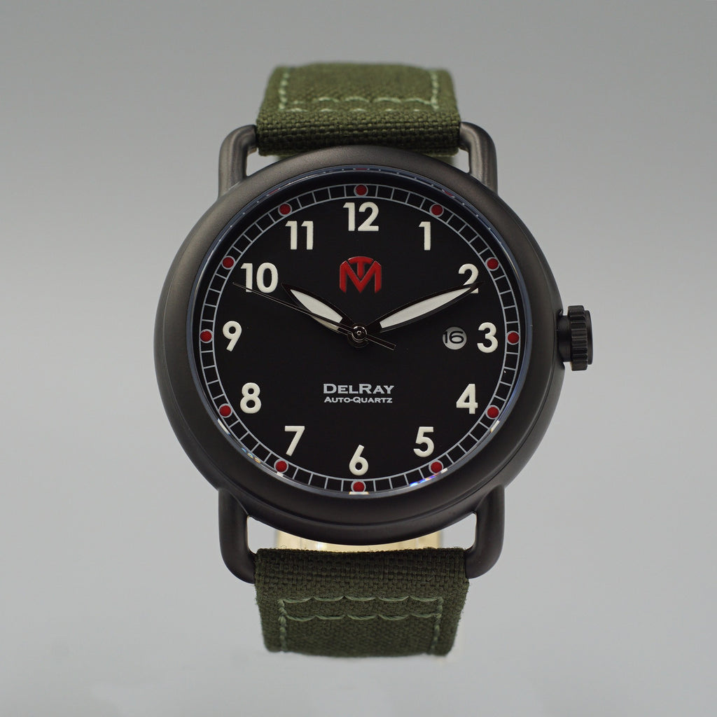 Watch - DelRay - Black Dial - PVD Black Case - Green Canvas - McDowell Time Auto-Quartz Kinetic