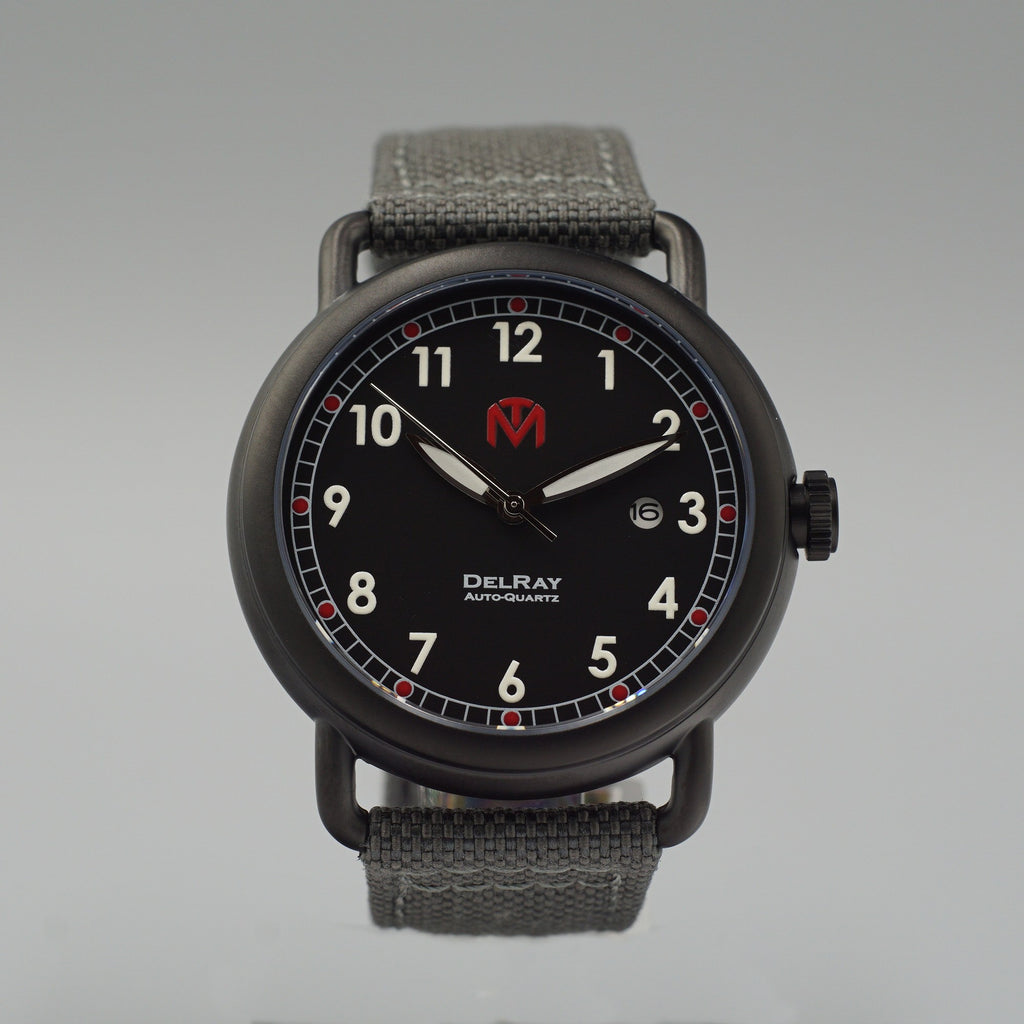 Watch - DelRay - Black Dial - PVD Black Case - Grey Canvas - McDowell Time Auto-Quartz Kinetic