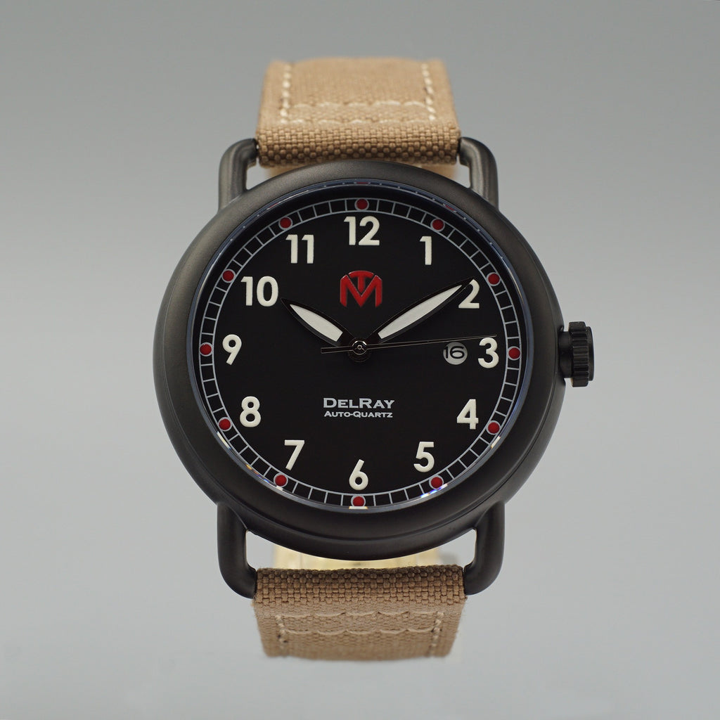 Watch - DelRay - Black Dial - PVD Black Case - Tan Canvas - McDowell Time Auto-Quartz Kinetic