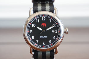 DelRay - Black Dial - Polished Case Watch - McDowell Time Auto-Quartz Kinetic Movement YT57