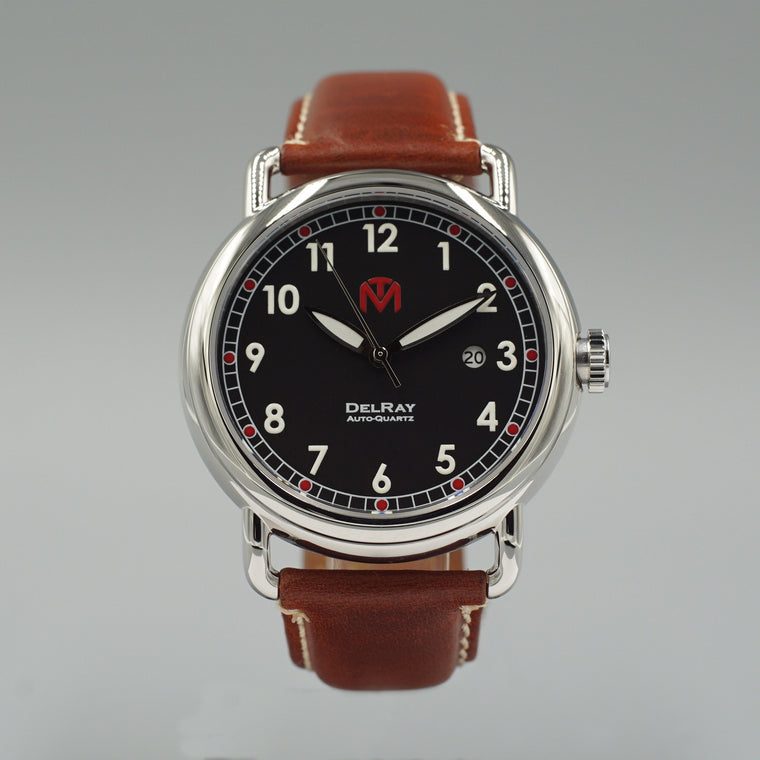 Watch - DelRay - Black Dial - Polished Case - Brown Leather - McDowell Time Auto-Quartz Kinetic