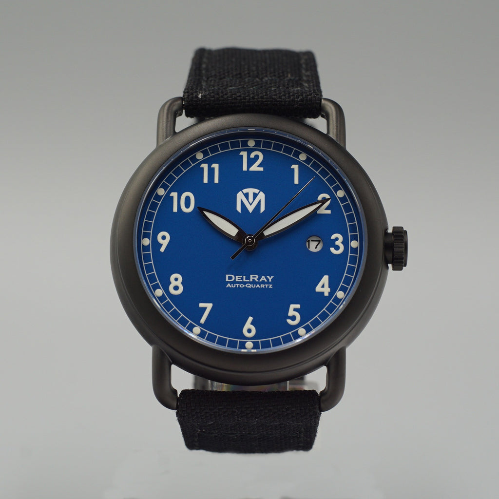 Watch - DelRay - Blue Dial - PVD Black Case - Black Canvas - McDowell Time Auto-Quartz Kinetic