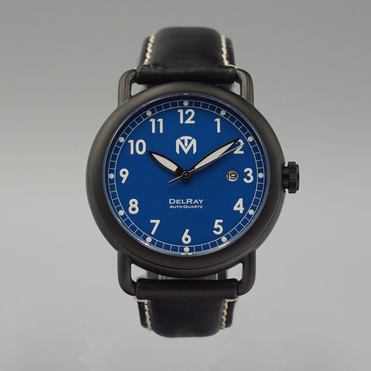 Watch - DelRay - Blue Dial - PVD Black Case - Black Leather - McDowell Time Auto-Quartz Kinetic