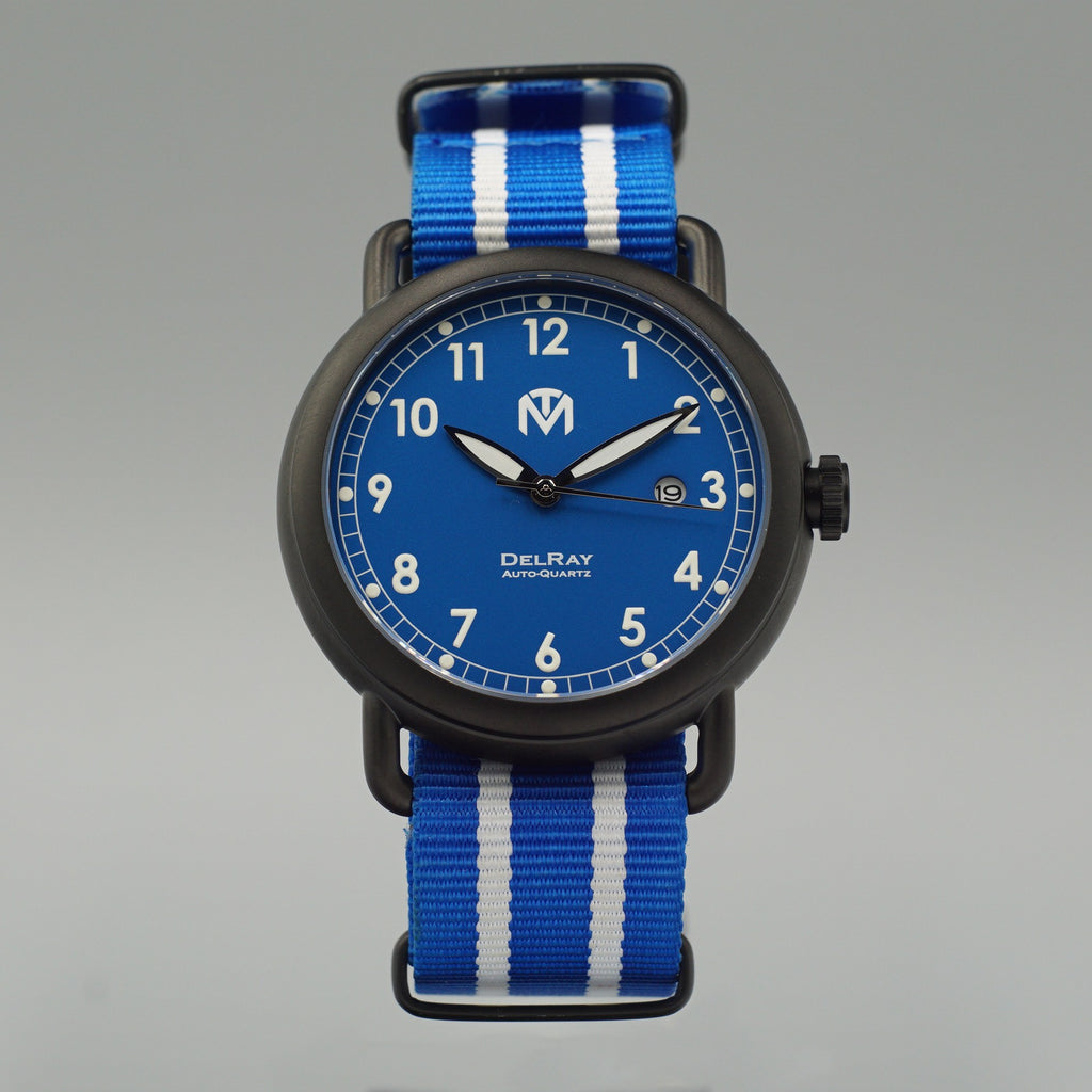 Watch - DelRay - Blue Dial - PVD Black Case - Blue NATO - McDowell Time Auto-Quartz Kinetic