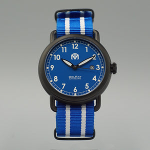 DelRay Men's Watch - Blue Dial - PVD Black Case Watch - McDowell Time Auto-Quartz Kinetic Movement YT57