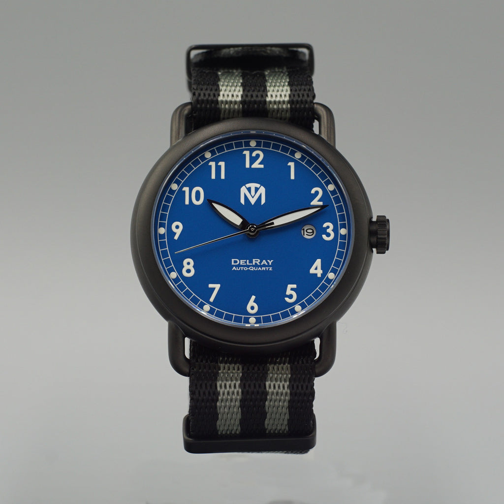 Watch - DelRay - Blue Dial - PVD Black Case - Bond NATO - McDowell Time Auto-Quartz Kinetic