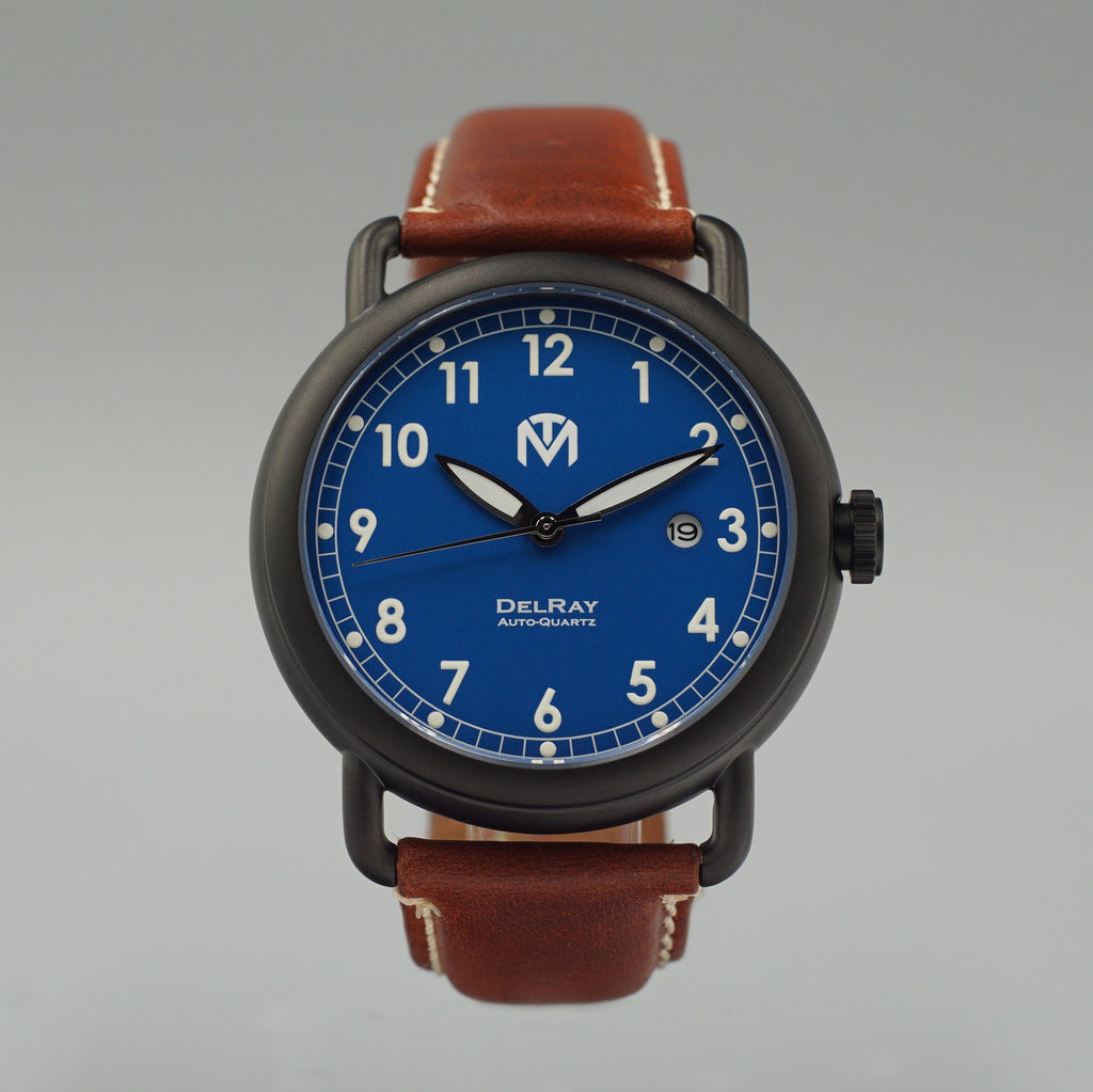 Watch - DelRay - Blue Dial - PVD Black Case - Brown Leather - McDowell Time Auto-Quartz Kinetic