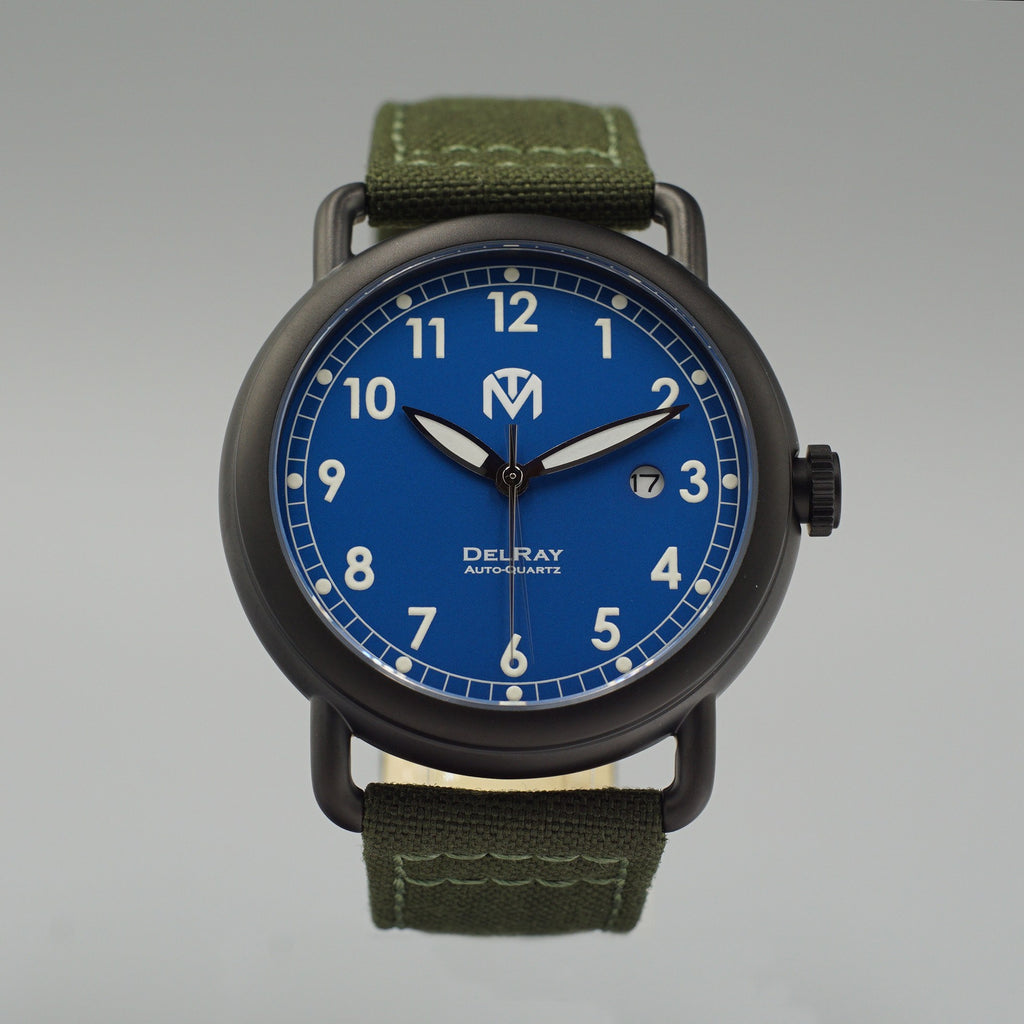 Watch - DelRay - Blue Dial - PVD Black Case - Green Canvas - McDowell Time Auto-Quartz Kinetic