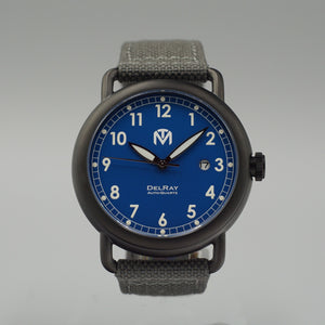DelRay - Blue Dial - PVD Black Case Watch - McDowell Time Auto-Quartz Kinetic Movement YT57