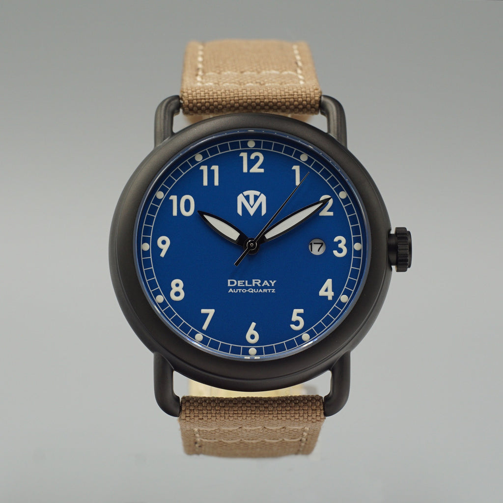 Watch - DelRay - Blue Dial - PVD Black Case - Grey Canvas - McDowell Time Auto-Quartz Kinetic