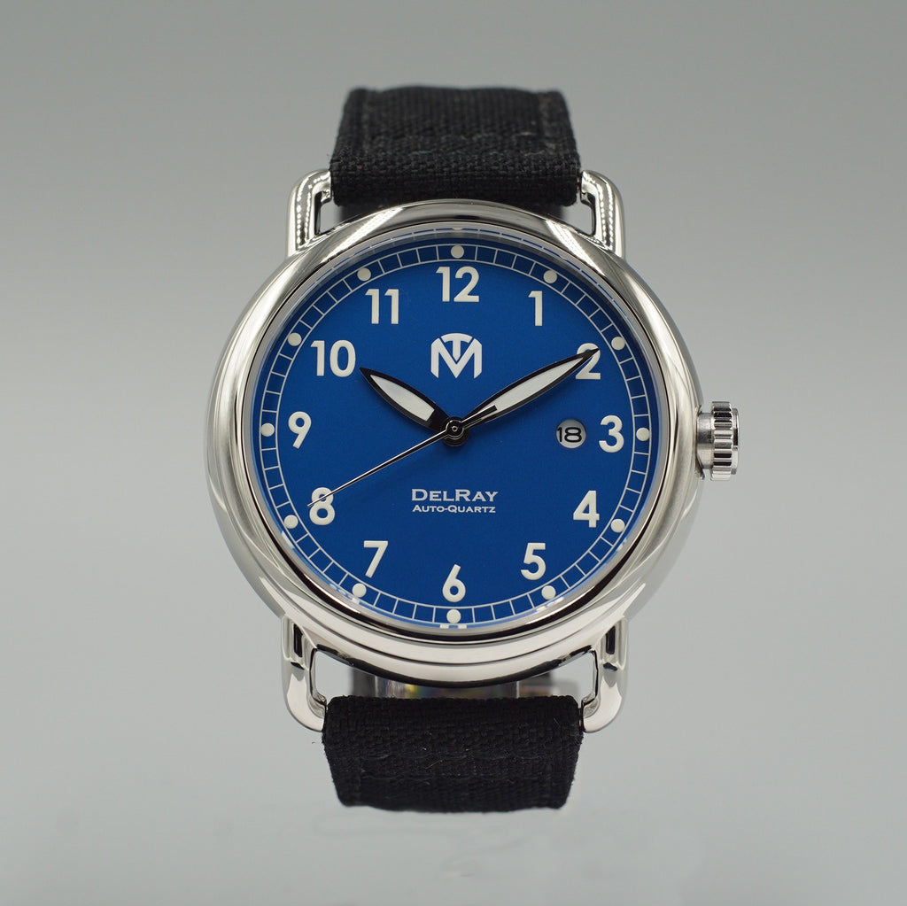 Watch - DelRay - Blue Dial - Polished Case - Black Canvas - McDowell Time Auto-Quartz Kinetic