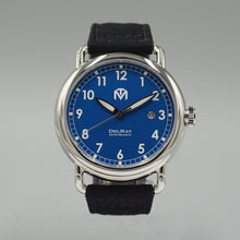 DelRay Men's Watch - Blue Dial - Polished Case Watch - McDowell Time Auto-Quartz Kinetic Movement YT57