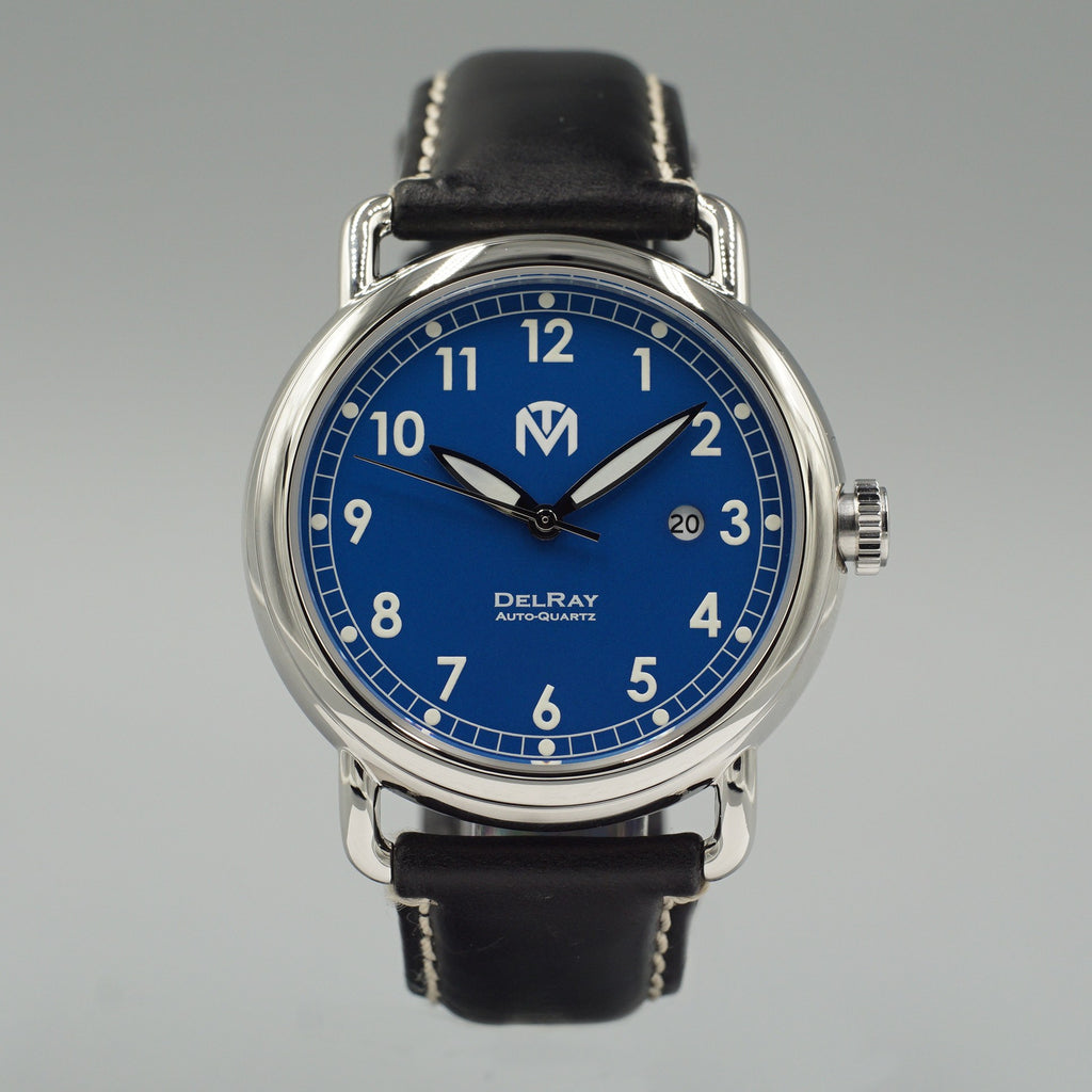 Watch - DelRay - Blue Dial - Polished Case - Black - McDowell Time Auto-Quartz Kinetic