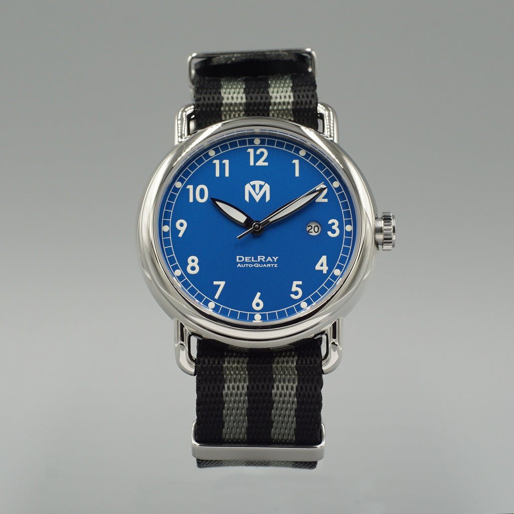 Watch - DelRay - Blue Dial - Polished Case - Bond NATO - McDowell Time Auto-Quartz Kinetic