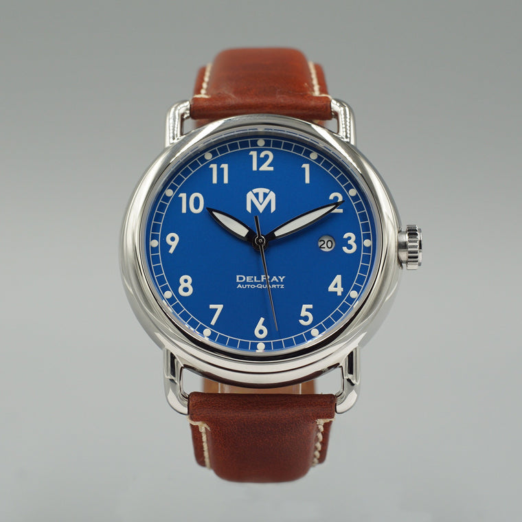 DelRay - Blue Dial - Polished Case Watch - McDowell Time Auto-Quartz Kinetic Movement YT57