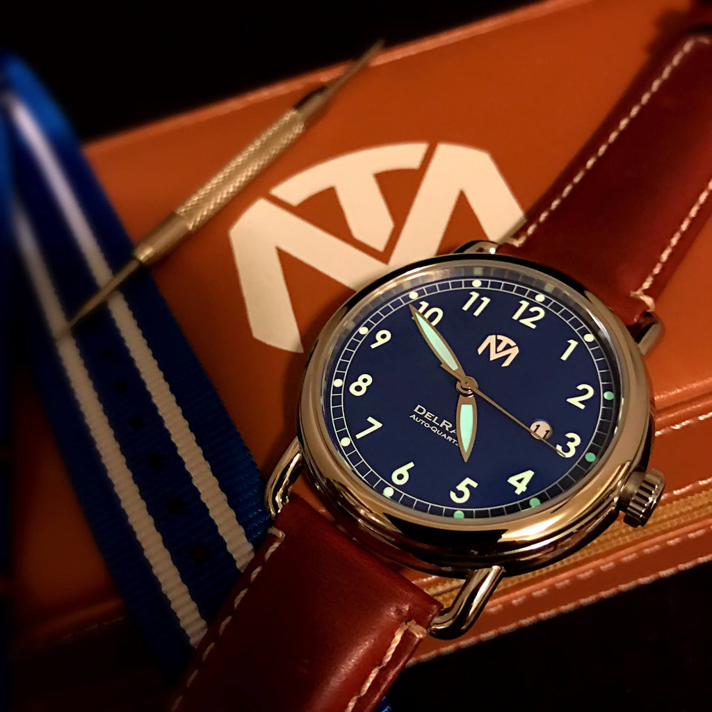 Watch - DelRay - Blue Dial - Polished Case - Brown Leather - McDowell Time Auto-Quartz Kinetic