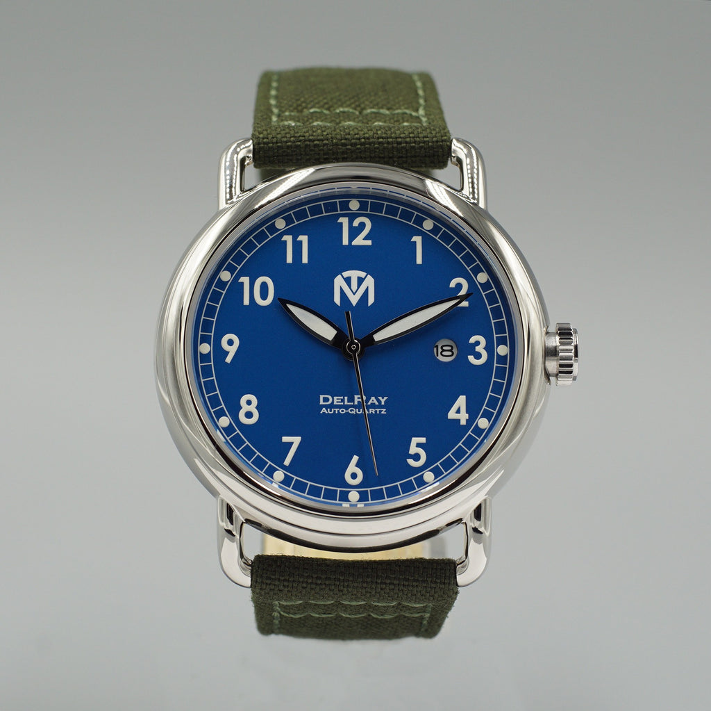 Watch - DelRay - Blue Dial - Polished Case - Green Canvas - McDowell Time Auto-Quartz Kinetic
