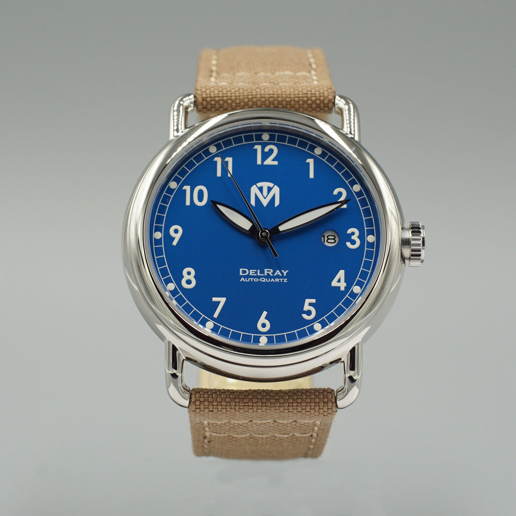 Watch - DelRay - Blue Dial - Polished Case - Tan Canvas - McDowell Time Auto-Quartz Kinetic