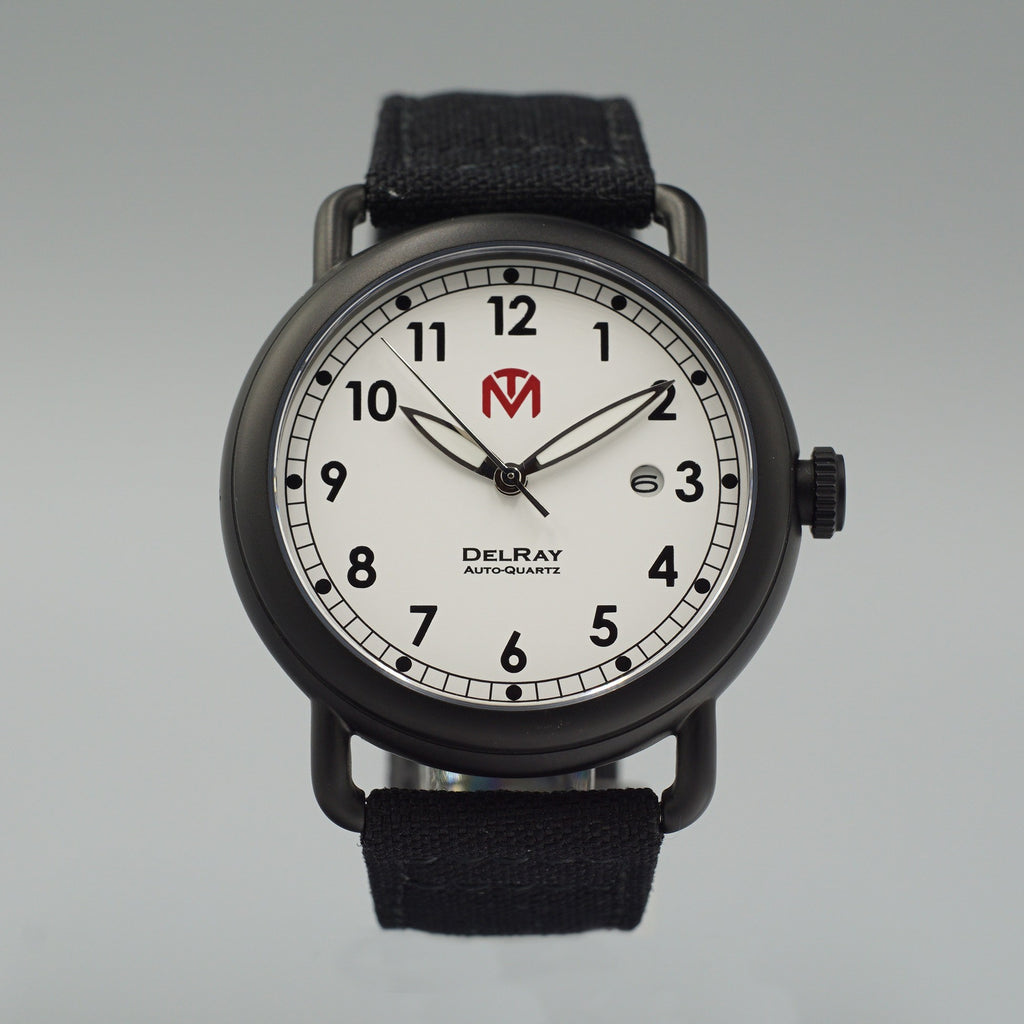 Watch - DelRay - White Dial - PVD Black Case - Black Canvas - McDowell Time Auto-Quartz Kinetic