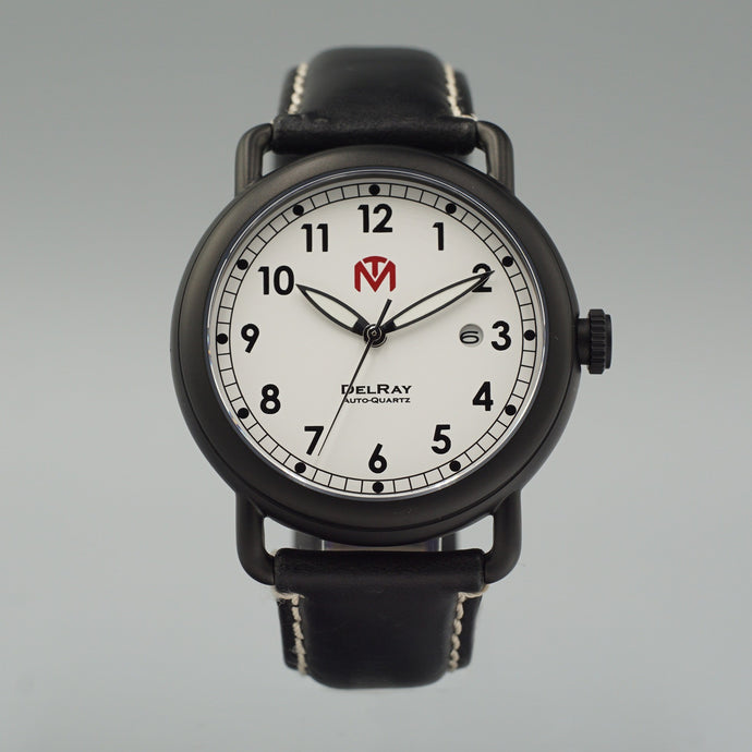 DelRay Men's Watch - White Dial - PVD Black Case Watch - McDowell Time Auto-Quartz Kinetic Movement YT57