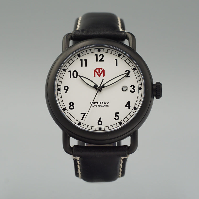 Watch - DelRay - White Dial - PVD Black Case - Black Leather - McDowell Time Auto-Quartz Kinetic