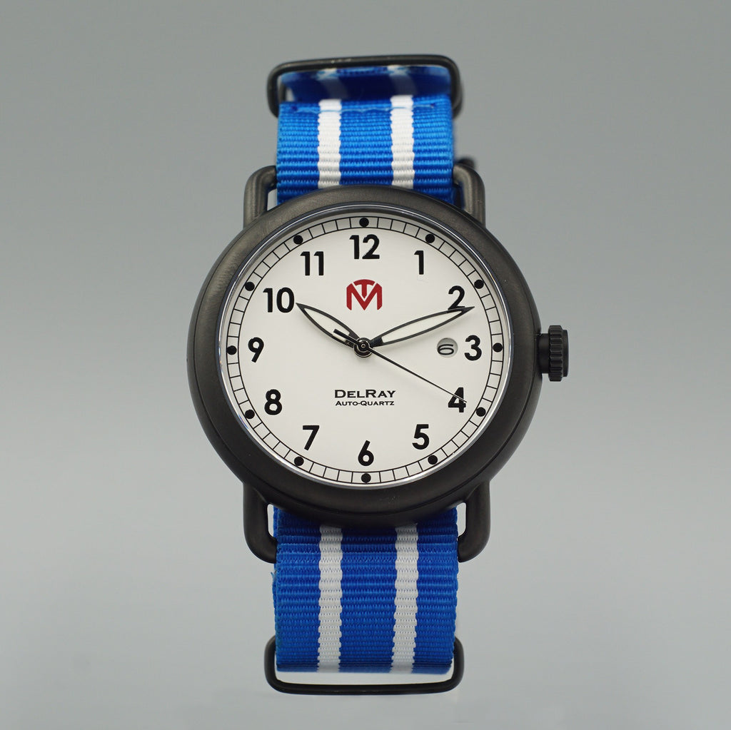 Watch - DelRay - White Dial - PVD Black Case - Blue NATO - McDowell Time Auto-Quartz Kinetic
